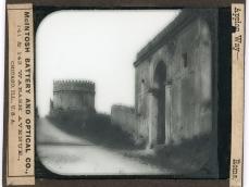 Lastra fotografica Via Appia Antica, dintorni di Roma, Mausoleo di Cecilia Metella e Castrum Caetani