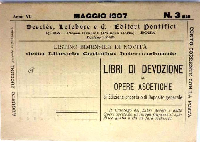 listino 1907 editori pontifici Desclée Lefebvre roma piazza grazioli palazzo doria